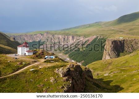 Mountainous landscape in the Caucasus, Russia - stock photo