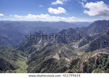 Mountainous landscapes of Copper Canyons in Chihuahua, Mexico - stock photo