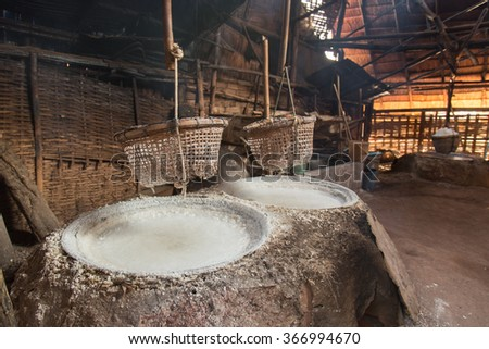 mountainous Salt ,ancient salt at Amphoe Bo Kluea ,Nan province , Thailand