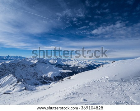 Mountains above Davos City in Switzerland visible from Weissfluhgipfel in 2844 meters.