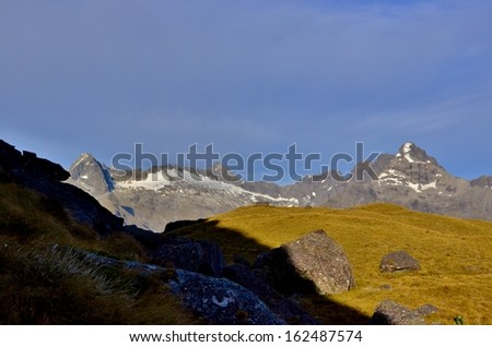 Mountains and Alpine Meadow, Routeburn Track - stock photo