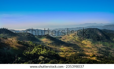 Mountains and blue sky landscape