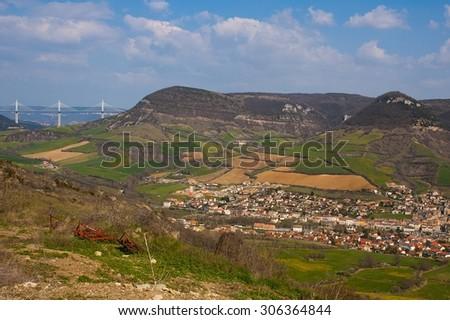 Mountains and cludy sky near Millau - stock photo