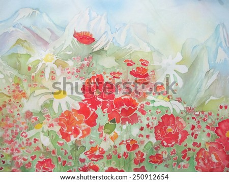 mountains and flowers - an original modern batik painting on silk                            - stock photo