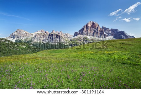 Mountains and meadow in Dolomite national park,Italy