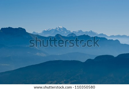 Mountains and Mont Blanc view from Cret de Chatillon, France - stock photo