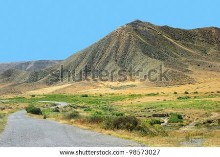 Mountains and road in Armenia.