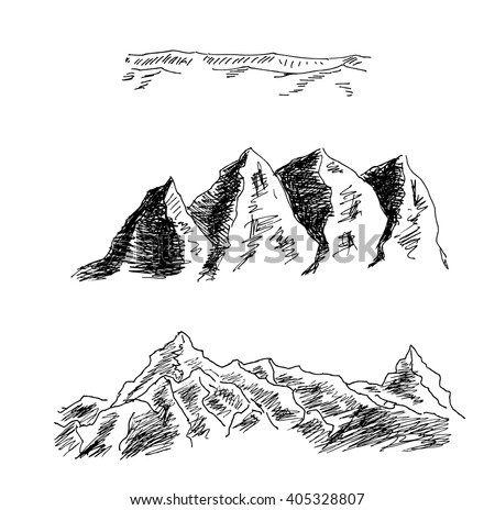 Mountains and rocks high above sea level, for  mountain landscape and scenery design. The outline of hills and rocks, for outdoor and expedition travel design