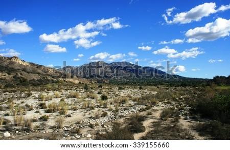 Mountains and sky at Big Tujunga Wash, San Fernando Valley, CA - stock photo