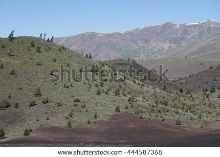 Mountains and valleys, Craters of the moon park, Idaho - stock photo