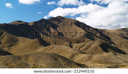 Mountains around Lindis Pass, Otago, New Zealand - stock photo