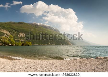 Mountains at Lake Garda in Torbole (Trentino, Italy) - stock photo