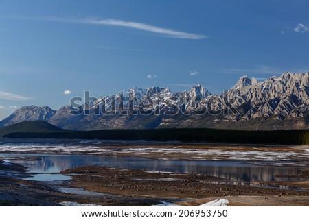 Mountains at Lower lake Kananaskis Canada - stock photo