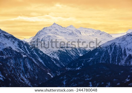 Mountains at ski resort Solden Austria - nature and sport background - stock photo