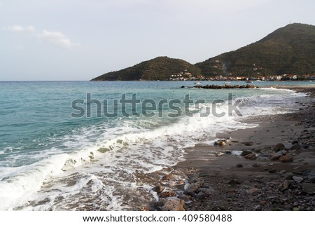 Mountains at the beach in Greece, summer time