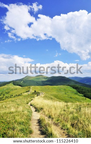 Mountains Bieszczady. Poland Smerek hill near tarnica hill