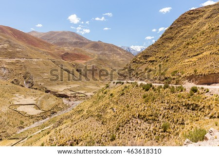 Mountains Bolivia  road agriculture terraces landscape. Traveling South America,