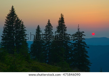 Mountains: Carpathians on the border of Ukraine and Romania