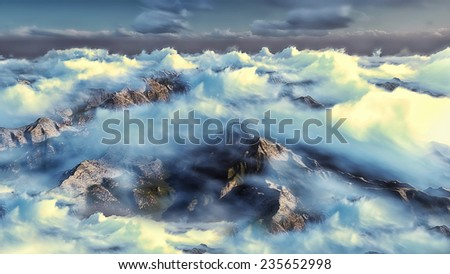Mountains & clouds - stock photo