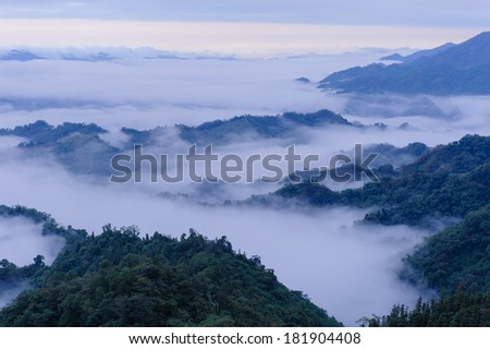 mountains covered with clouds in Taiwan - stock photo