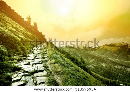 Mountains. Fantasy and colorfull nature landscape. Nature conceptual image. - stock photo