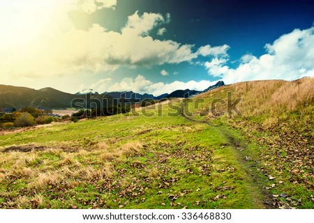 Mountains. Fantasy and colorfull nature landscape. Nature conceptual image. Autumn in mountains. - stock photo