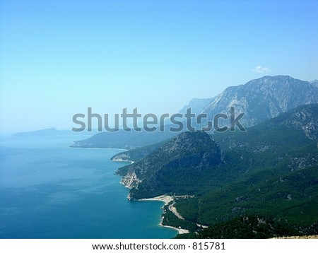 mountains from height of the bird's flight - stock photo