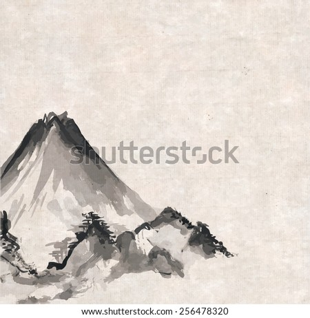 Mountains hand-drawn with ink in traditional Japanese style sumi-e in vintage rice paper. Raster version. - stock photo
