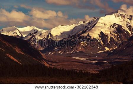 Mountains in Alaska - stock photo