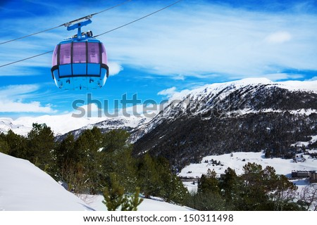 Mountains in Androrra and ski cable car over the valley - stock photo