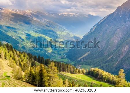 Mountains in Austria. Hohe Tauern National Park, Grossglocknergruppe range of mountains. Hochalpenstrasse - famous mountain road. - stock photo