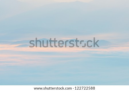 mountains in beautiful dust, morning at Chiangmai Thailand - stock photo