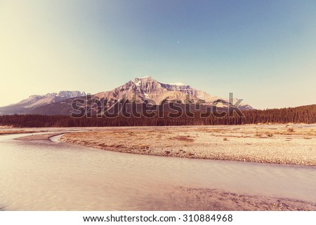 Mountains in Canada.Instagram filter. - stock photo