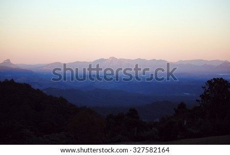 mountains in Lamington National Park, Queensland, Australia under sunrise scene