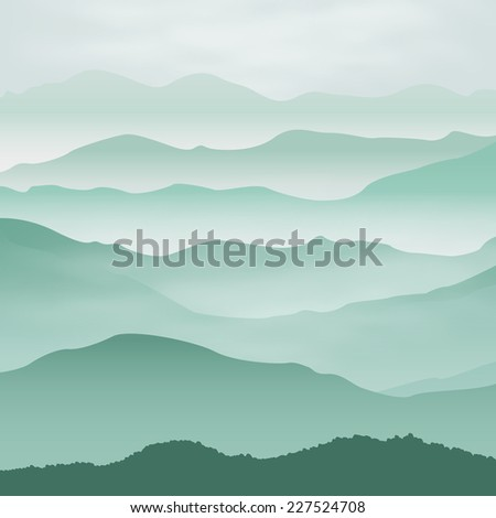 Mountains in the fog. Background. - stock photo