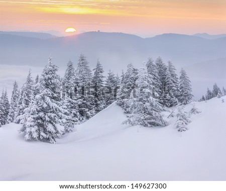 Mountains in the morning mist. Winter sunrise. - stock photo