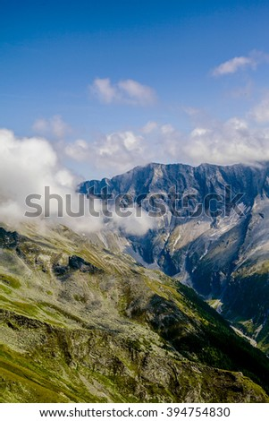 mountains in the national park Hohe Tauern in Alps in Austria. Background - stock photo