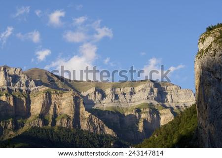 Mountains in the Pyrenees, Ordesa Valley National Park, Aragon, Huesca, Spain. - stock photo