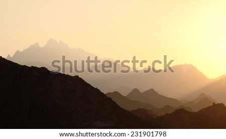 Mountains in the warm haze
