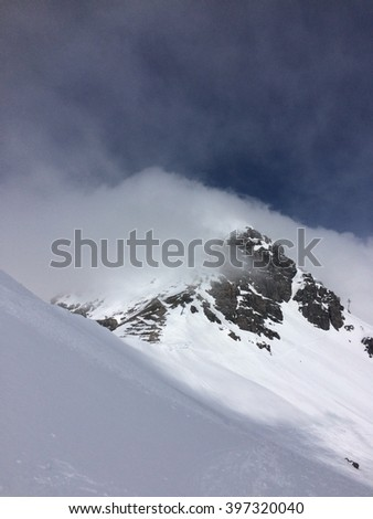 Mountains in winter, covered in snow