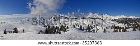 Mountains in winter, panorama