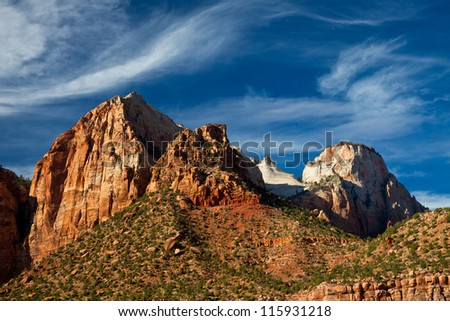 Mountains in Zions Park with Dark Blue Sky - stock photo