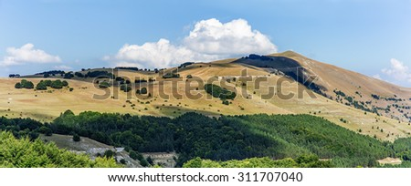mountains landscape panorama. Italy Sibillini national park