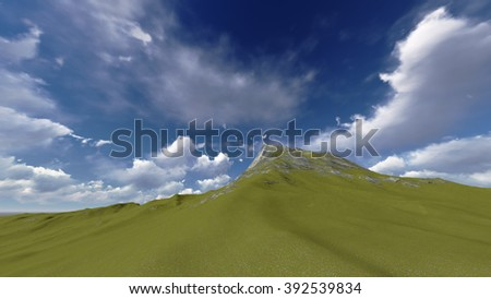 mountains landscape with blue sky illustrations