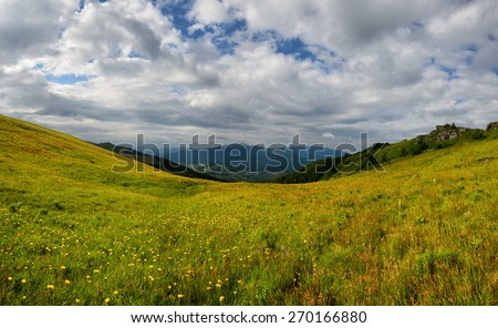Mountains landscape with yellow flower meadow hills and slopes and cloudy sky - stock photo