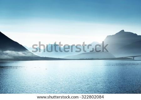 mountains, Lofoten islands, Norway  - stock photo