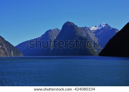 Mountains Mt Pembroke, The Lion and the Elephant. Scene in the Milford Sound, New Zealand. - stock photo