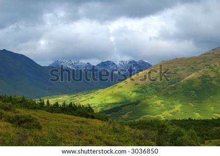 Mountains near Anchorage - stock photo