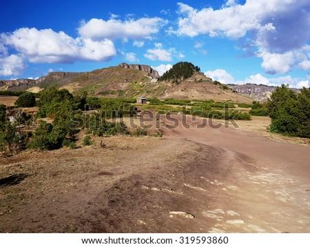 Mountains near Lalibela, Ethiopian Highlands Abuna Yosef trek - stock photo