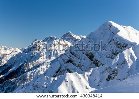 Mountains near the ski resort of Rosa Khutor in Krasnaya Polyana. Sochi, Russia - stock photo